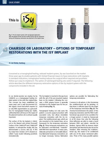 Chairside or laboratory – Options of temporary restorations with the iSy Implant